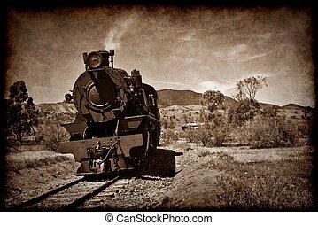 oud, stoom trein, in, grunge