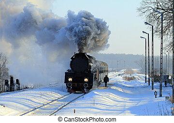 oud, stoom trein, retro