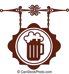 oud, straat, woning, signboard, illustratie, of, bier,...