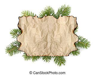 oud, tak, ruimte, boompje, vrijstaand, perkament, papier, achtergrond, kopie, kerstmis