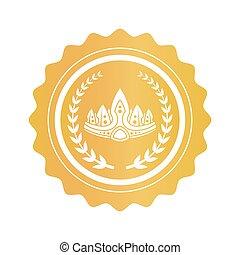 oud, takken, gouden zegel, kroon, tussen, laurier