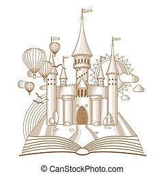 oud, tales, kasteel, boek, illustratie, vector, wereld, verschijnen, elfje, spotprent