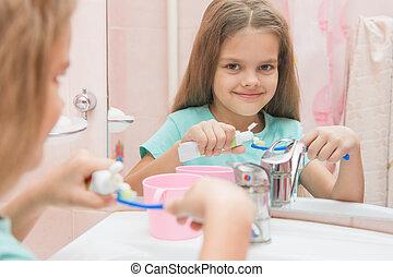 oud, tandpasta, buis, zes, samendrukkingen, tandenborstel, jaar, meisje