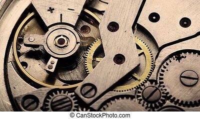 oud, tandwiel, mechanisme, klok