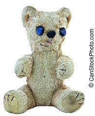 oud, teddy, bear;, langzaam verdwenen, versleten, herstelde,...