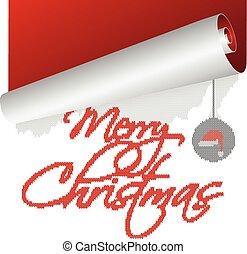 oud, tekst, op, gebreid, jaar, wikkeling, kerstmis kaart