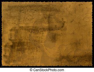 oud, textured, papier, met, tattered, rand