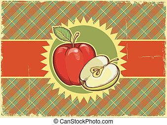 oud, texture.vector, etiket, papier, achtergrond, apples.vintage, illu