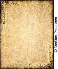 oud, textuur, papier, ontwerp, sierlijk, perkament