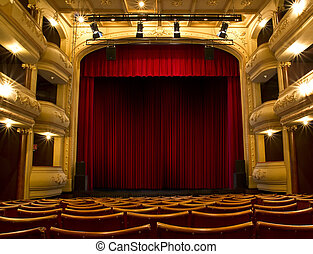 oud, theater, toneel, en, rood gordijn