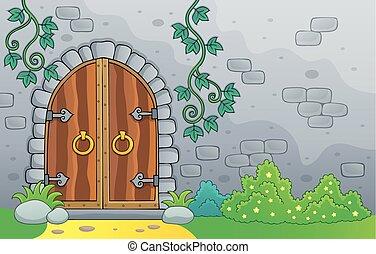 oud, thema, 2, deur, beeld