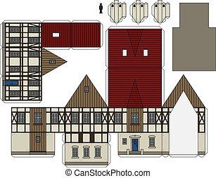 oud, timbered, woning, papier, helft, model