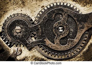 oud, toestellen, mechanisme, klok