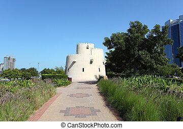 oud, toren, op, de, corniche, park, in, abu dhabi, verenigde arabische emiraten