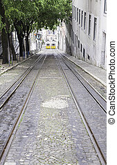 oud, trams, in, lissabon