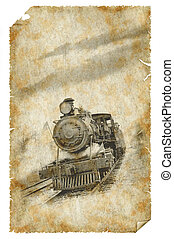 oud, trein, poster
