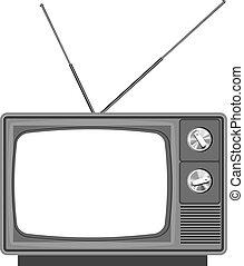 oud, tv, -, televisie, met, blank lichten door