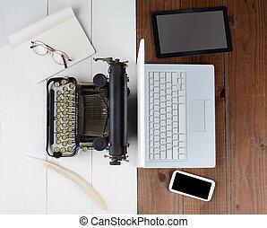 oud, typemachine, en, computer