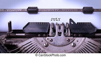 oud, typemachine, -, juli