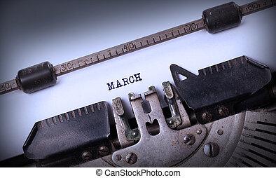 oud, typemachine, -, maart