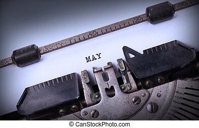 oud, typemachine, -, mei