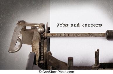 oud, typemachine, met, papier