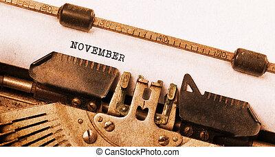 oud, typemachine, -, november
