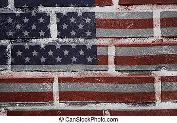 oud, usa, geverfde, textuur, muur, vlag, baksteen