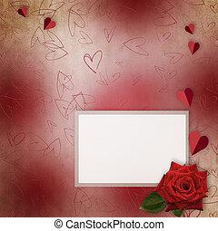 oud, valentine, straat., groet, papier, hartjes, dag, kaart