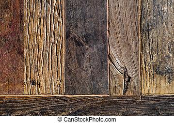 oud, van hout grondslagen, achtergrond, van boven