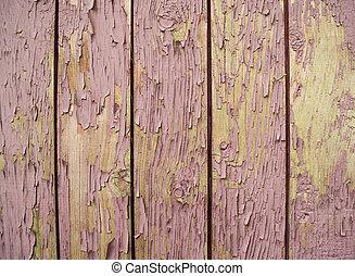 oud, van hout grondslagen, geverfde, met, roze, verf , gebarsten, door, een, rustiek, achtergrond