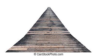 oud, van hout landingsplaats, vrijstaand, op, een, witte