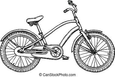 oud, -, vector, fiets, ruige , tekening