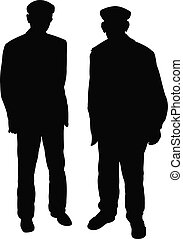 oud, vector, silhouette, twee mannen