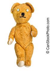 oud, veel, gehouden van, veel, herstelde, unbranded, speelbal, teddy beer