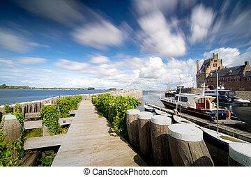 oud, veere, schilderachtig, historisch, zeeland., porto,...