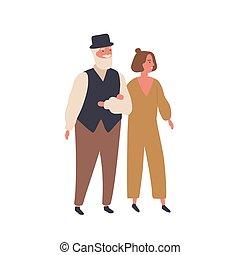 oud, verhouding, wandelende, spotprent, paar, vrouw, ...