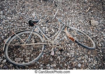 oud, verlaten, fiets, naambord, strand., fiets, rust.