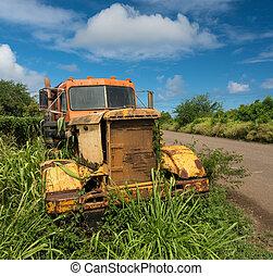 oud, verlaten, suiker, koloa, vrachtwagen, kauai, molen