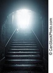 oud, verlaten, trap, het uitgaan, om te, de, light., hoop,...