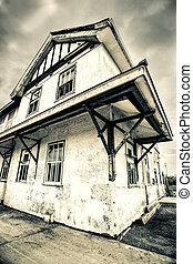 oud, verlaten, treinpost