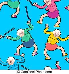 oud, verpleging, dans, ornament., pattern., illustratie, grootmoeder, dansen, vector, oma, thuis, feestje, cool., dame, texture.