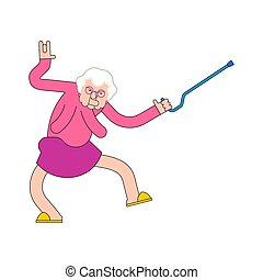 oud, verpleging, partij., illustratie, dance., grootmoeder, vector, dances., oma, thuis, cool., dame