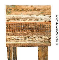oud, verweerd hout, meldingsbord, vrijstaand, op wit, achtergrond