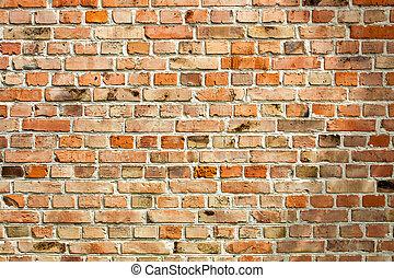 oud, verweerd, muur, achtergrond, baksteen, rood