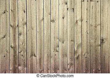 oud, vieze , houten hek, begonnen, om te, rot, van, onder,...