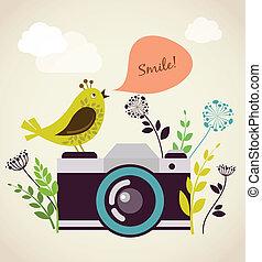 oud, vintage fototoestel, met, vogel