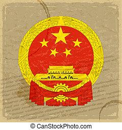 oud, vlag, papier, blad, chinees