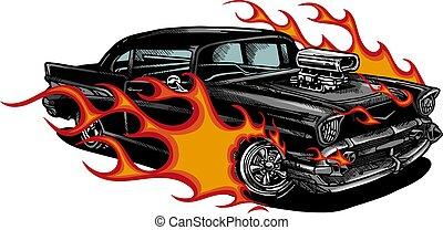 oud, vlammen, auto, illustratie, 70, vector, muscle