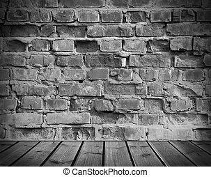 oud, vloer, muur, houten, interieur, baksteen